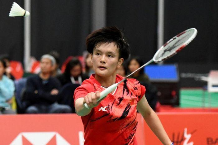Tunggal putri China, Wang Zhiyi, saat tampil di Kejuaraan Dunia Junior 2018 di Kanada.