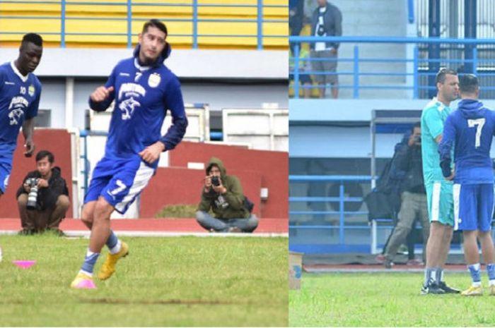 Ezechiel N'Douassel dan Esteban Vizcarra berlatih dan berdiskusi dengan Asisten Pelatih Persib Dejan Miljanic di Stadion Sport Jabar Arcamanik, Kota Bandung, Sabtu (19/1/2019) pagi WIB.