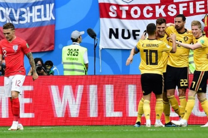 Para pemain Belgia merayakan gol Thomas Meunier ke gawang Inggris pada pertandingan perebutan posisi ketiga Piala Dunia 2018 di St. Petersburg, 14 Juli 2018.
