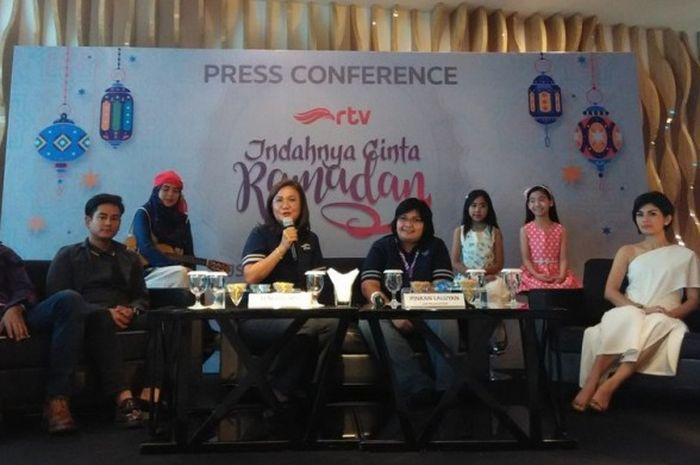 Suasana konferensi pers peluncuran tayangan Piala Konfederasi 2017 dan Piala Dunia U-20 di Hotel JS Luwansa, Jakarta, Selasa (9/5/2017) sore WIB.