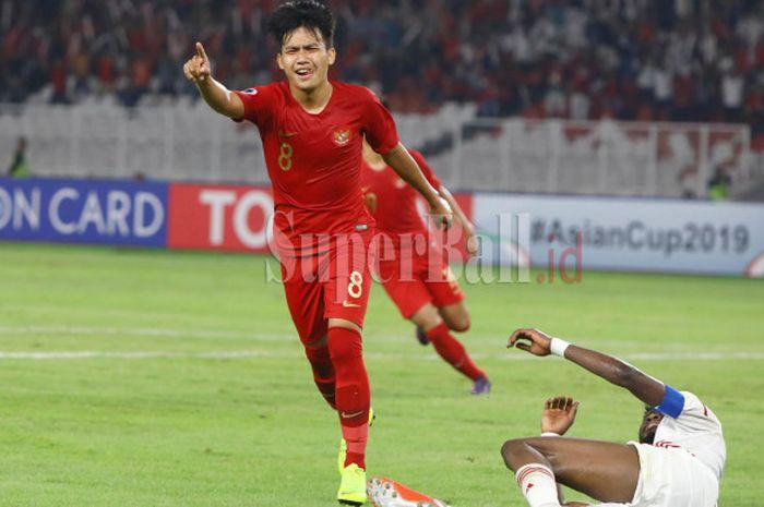 Gelandang Timnas U-19 Indonesia Witan Sulaeman selebrasi gol ke gawang Timnas U-19 Uni Emirat Arab d