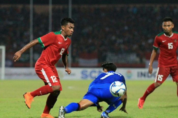 Momen Rifad Marasabessy dalam laga timnas U-19 Indonesia kontra Thailand di Stadion Gelora Delta