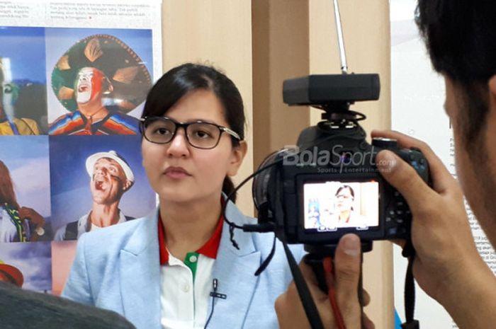 Sekjen PSSI, Ratu Tisha Destria, dalam sebuah wawancara di kantor Tabloid BOLA, 8 Agustus 2018.