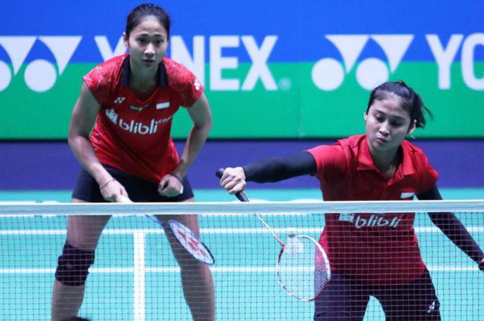Ni Ketut Mahadewi Istarani (kiri) dan Rizki Amelia Pradipta (kanan) belum mampu kalahkan pasangan tuan rumah di Thailand Masters 2019.