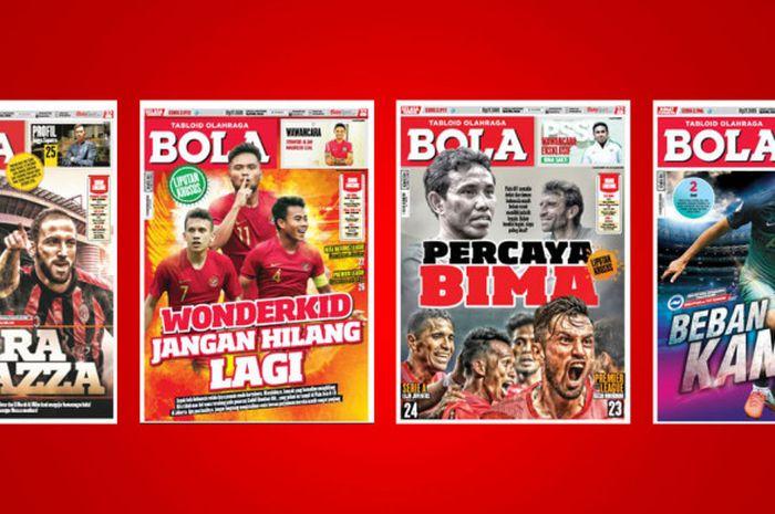 Sejumlah cover Tabloid BOLA dalam beberapa edisi terakhir.
