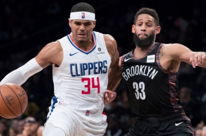 Forward Los Angeles Clippers, Tobias Harris, saat menjalani laga melawan Memphis Grizzlies pada lanj