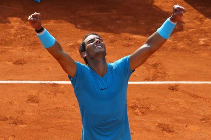 Rafael Nadal saat tampil pada turnamen tenis Grand Slam, Roland Garros 2018.