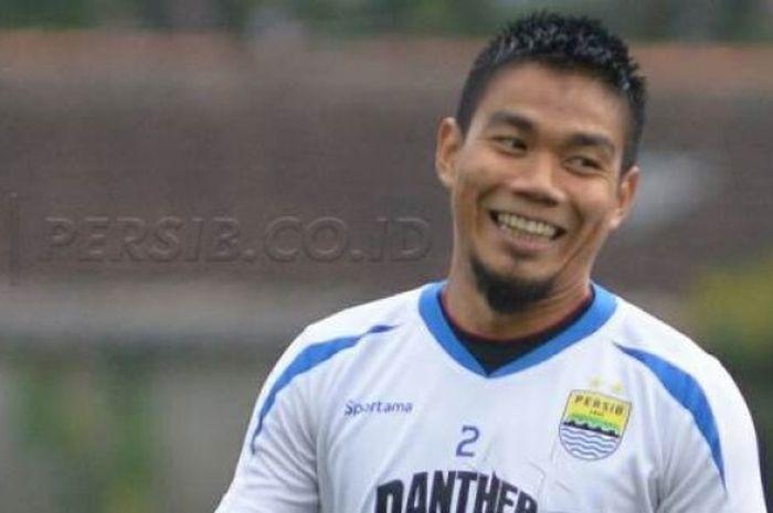 Wajah semringah bek Persib, Wildansyah seusai mencetak gol ke gawang Yahukimo FC pada uji coba di la