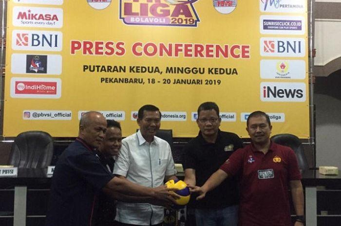 Perwakilan tim jelang Proliga 2019 di Pekanbaru, Kamis (17/1/2019).