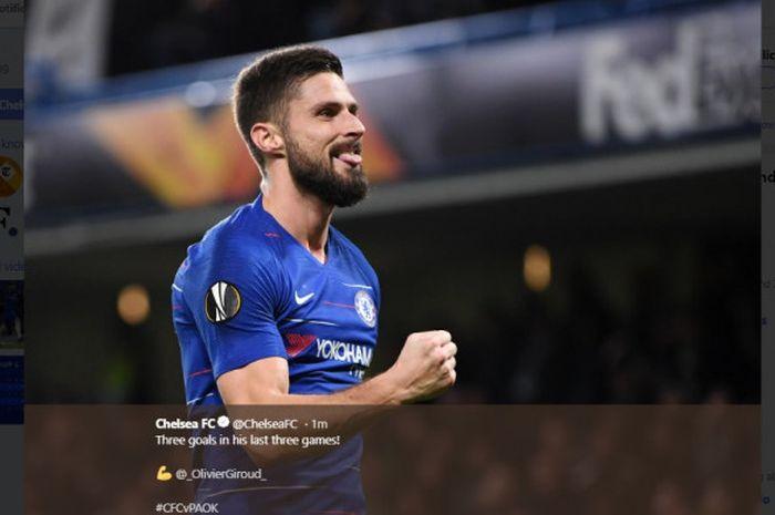 Penyerang Chelsea, Olivier Giroud, merayakan gol dalam laga Grup L Liga Europa kontra PAOK FC di Sta