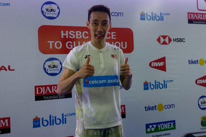 Pebulu tangkis tunggal putra Malaysia, Lee Chong Wei, saat menghadiri konferensi pers seusai laga se