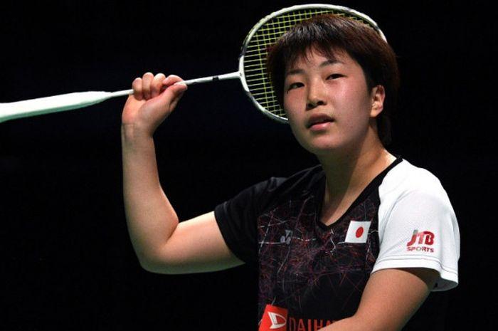 Pebulu tangkis tunggal putri Jepang, Akane Yamaguchi, bereaksi saat menjalani laga final Australia T