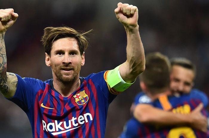 Megabintang FC Barcelona, Lionel Messi, merayakan gol yang dicetak ke gawang Tottenham Hotspur dalam laga Grup B Liga Champions di Stadion Wembley, London, Inggris pada 3 Oktober 2018.