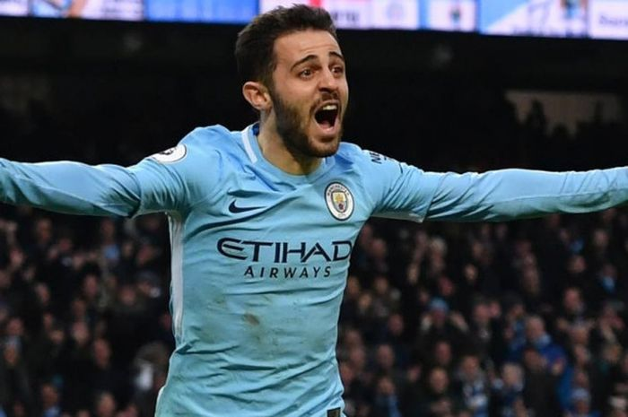 Aksi selebrasi gol Bernardo Silva untuk Manchester City ke gawang Chelsea dalam partai Liga Inggris di Stadion Etihad Manchester, 4 Maret 2018.