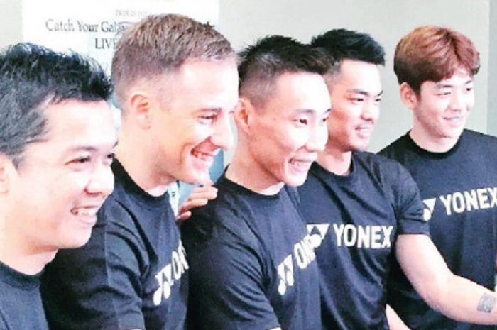 Para legenda bulu tangkis (dari kiri ke kanan), Taufik Hidayat, Peter Gade, Lee Chong Wei, Lin Dan