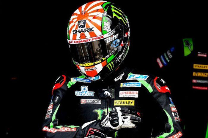 Johann Zarco saat bersiap tampil bersama tim Yamaha Tech3 dalam salah satu sesi MotoGP Inggris 2018.