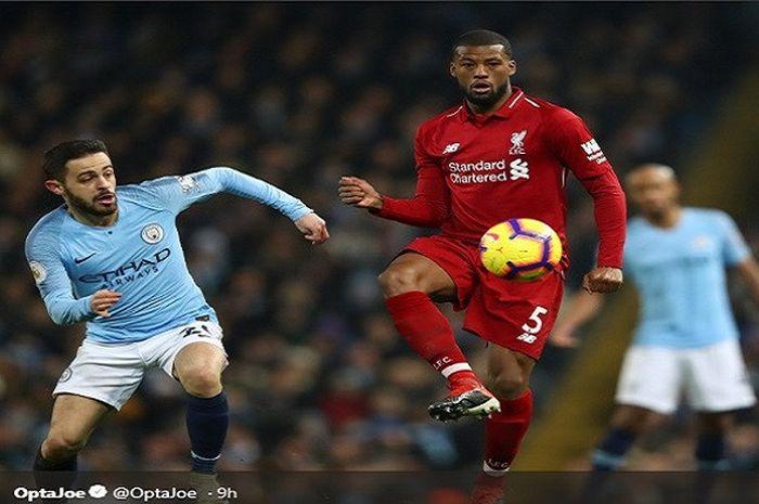 Gelandang Manchester City, Bernardo Silva, berduel dengan pemain Liverpool, Georginio Wijnaldum, dal
