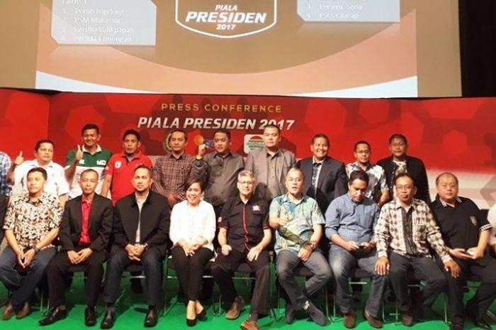 Perwakilan dari 20 klub menghadiri undian Piala Presiden 2017 di Jakarta, Selasa (24/1/2017).
