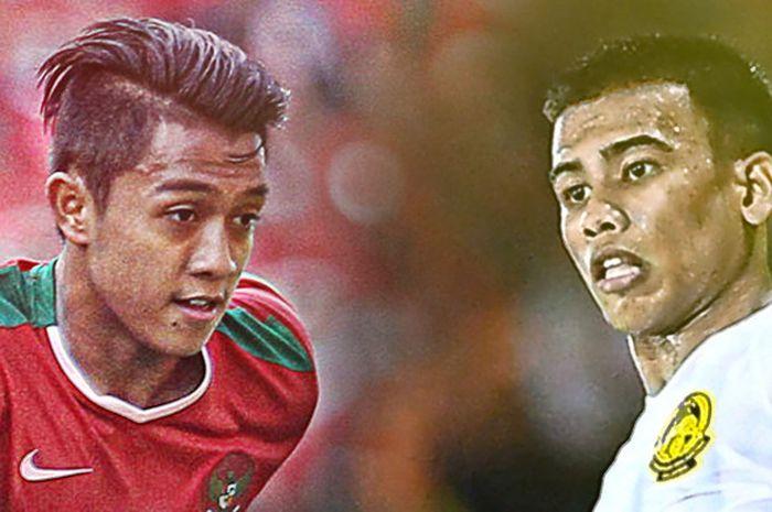 Gelandang Timnas U-22, Febri Hariyadi, dengan pemain Malaysia, Safawi Rasyid Bagus