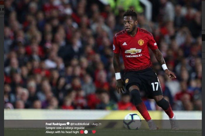 Gelandang Manchester United, Fred, dalam laga pekan kedua Liga Inggris kontra Brighton & Hove Albio