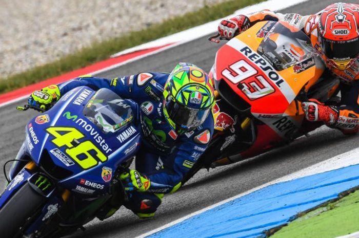 Valentino Rossi (#46) dan Marc Marquez (#93) menjadi dua pebalap aktif MotoGP yang punya rekor bagus di Sirkuit Assen, Belanda.