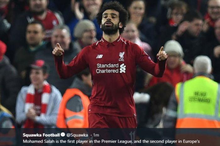 Mohamed Salah mencetak gol saat Liverpool melawan Crystal Palace pada pekan ke-23 Liga Inggris musim