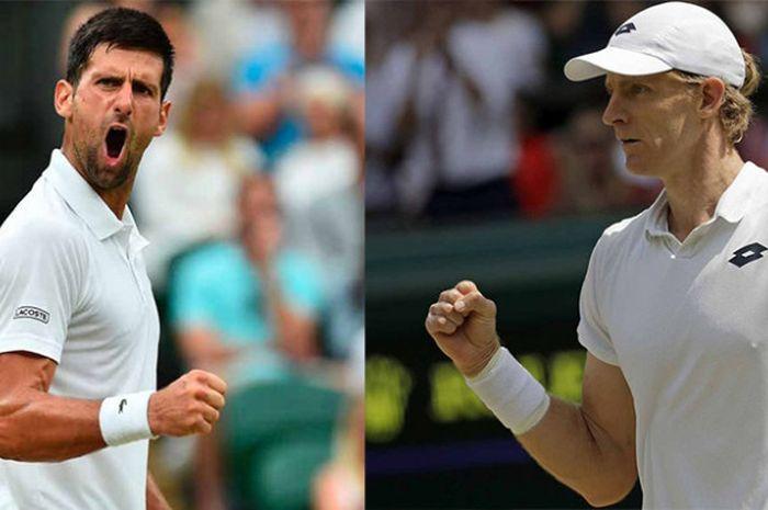 Novak Djokovic (kiri) dan Kevin Anderson (kanan) akan saling erhadapan pada partai final sektor tunggal putra Wimbledon 2018 yang akan digelar Minggu (15/7/2018).