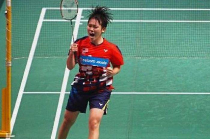 Ekspresi tunggal putri Malaysia, Goh Jin Wei, setelah mengalahkan Sung Ji-hyun, pada babak kedua Mal