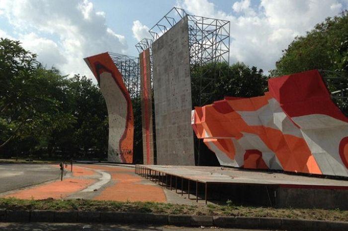 Arena yang digunakan untuk Kejurnas Panjat Tebing di Stadion Manahan, Solo.