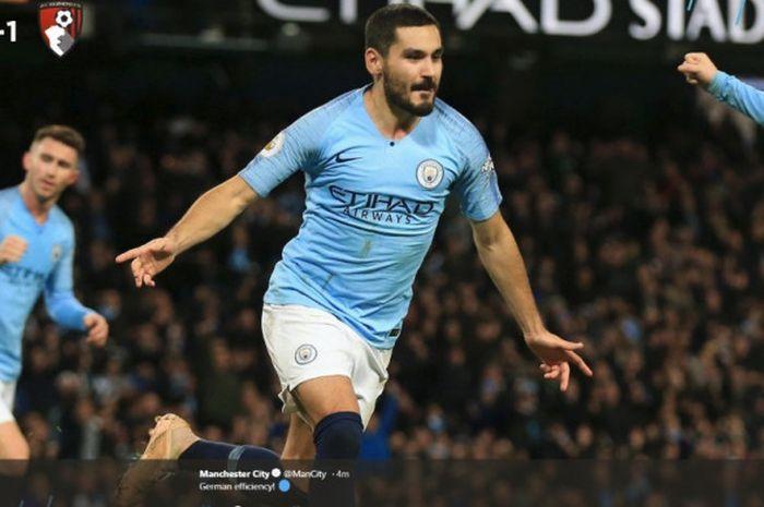 Ilkay Guendogan berhasil mencetak gol bagi Manchester City saat melawan Bournemouth pada laga pekank