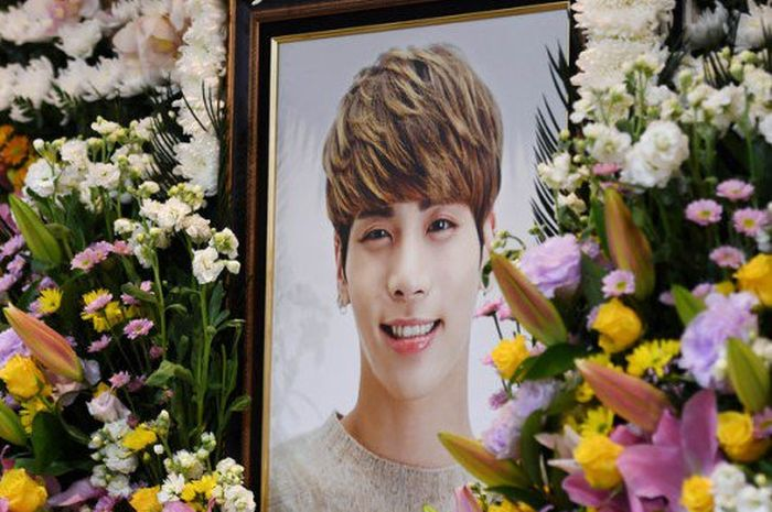 Foto Jonghyun di funeral hall, tempat upacara pemakaman berlangsung