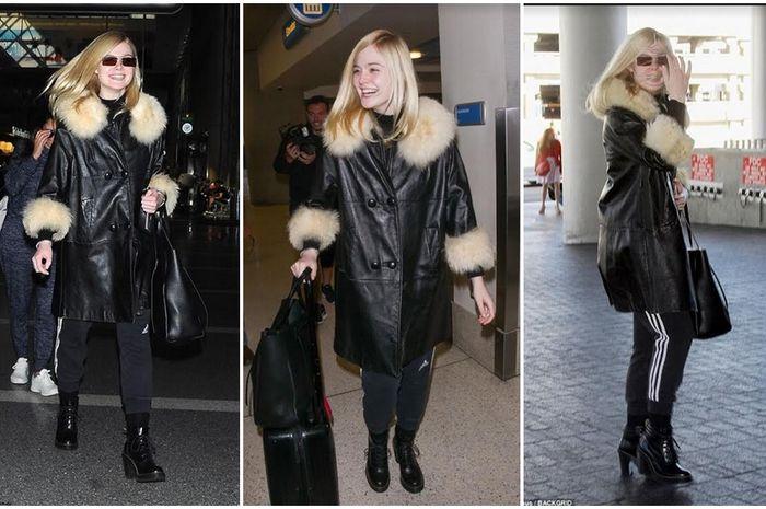 Elle Fanning yang juga merupakan aktris berbakat Hollywood terlihat memikat saat muncul di bandara Los Angeles dengan jaket kulit fur miliknya.