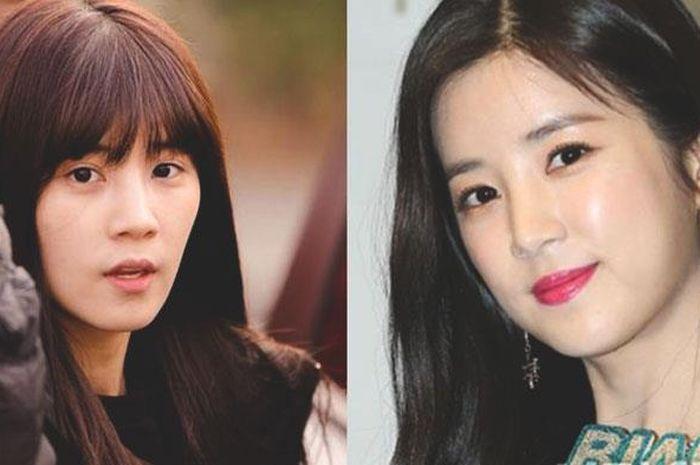Chorong Apink sebelum dan sesudah memakai makeup