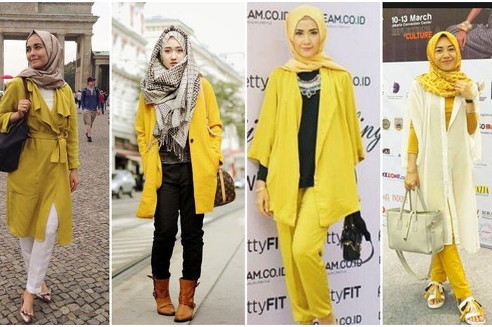 Inspirasi Busana Hijab Nuansa Kuning Mustard Ala Hijabers Di