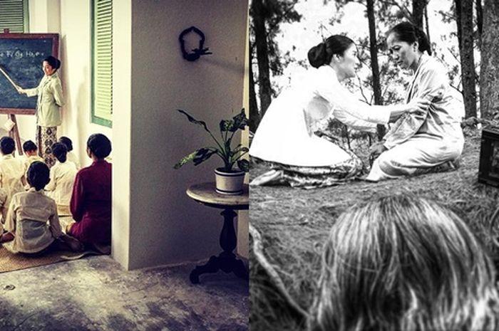 Foto bernuansa hitam putih ini menjadi salah satu bagian dari syuting film Kartini.