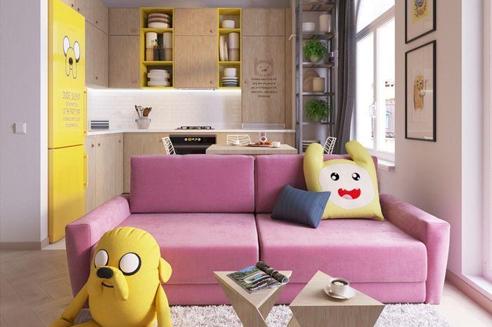 Warna cerah mendominasi apartemen mungil ini