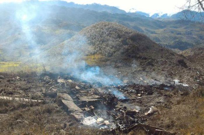 Lokasi kecelakaan pesawat Hercules milik TNI AU di pegunungan Jayawijaya, Minggu (18/12/2016).
