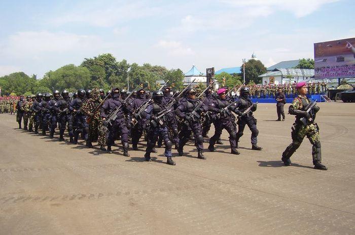 Pasukan khusus Denjaka Marinir dalam suatu parade