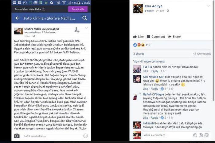 Screenshot status Shafira Nabila Cahyaningtas yang viral karena memaki ibu hamil di Facebook.