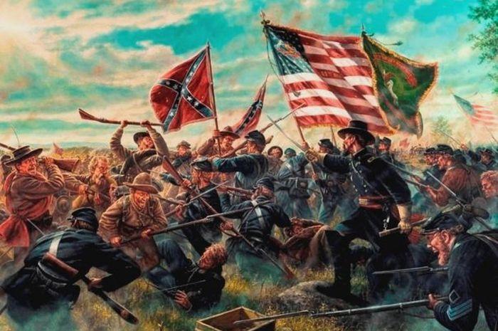 Ilustrasi perang saudara di Amerika Serikat yang terjadi di masa lampau.