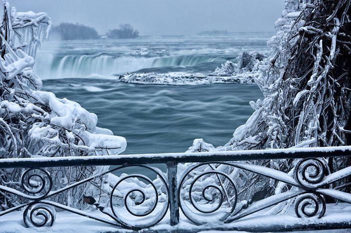 Membekunya Air Terjun Niagara.