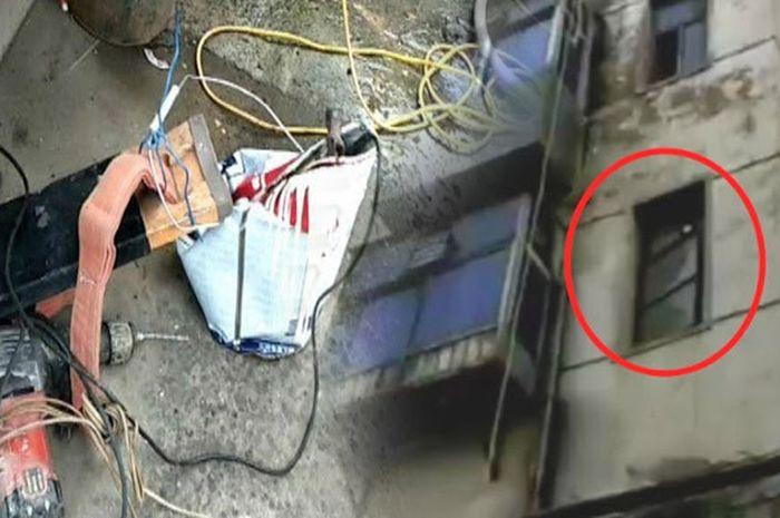 Pekerja gedung jatuh dari lantai 4