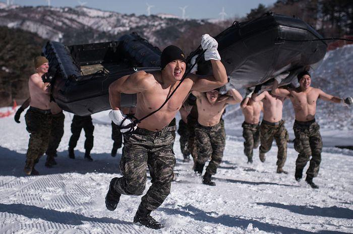 Pasukan khusus Korsel latihan di Salju