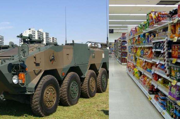 Kendaraan lapis baja tabrak toko kelontong | The Bubble & Wikipedia