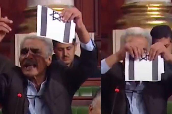 Aksi nekat seorang anggota parlemen Tunisia robek bendera Israel | Montase dari Facebook/Middle East Eye