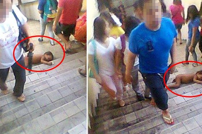 Hasil gambar untuk Foto Ini Bikin Syok, Bayi Terkapar Di Tangga Tapi Orang Di Sekitarnya Pura-Pura Buta Dan Tuli