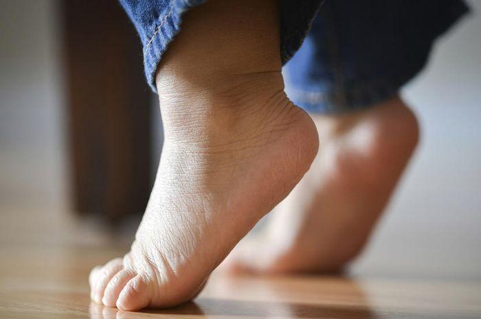 Anak mulai berjalan jinjit ketika mulai belajar berjalan sendiri.