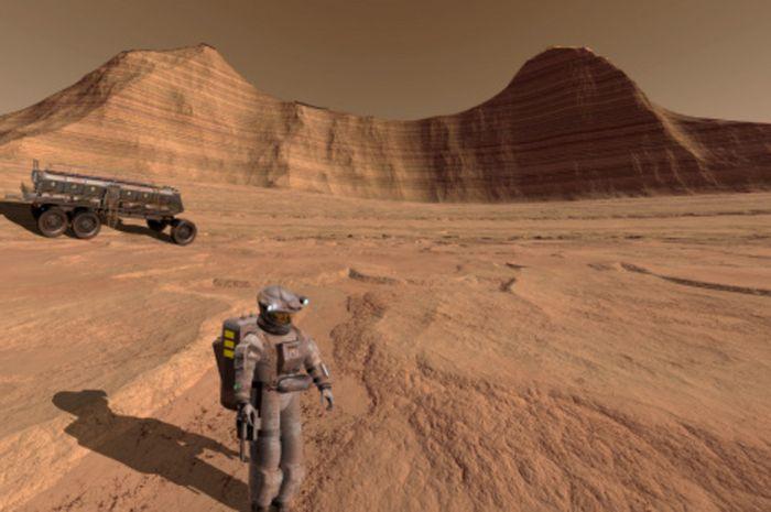 Ilustrasi manusia di permukaan planet Mars.