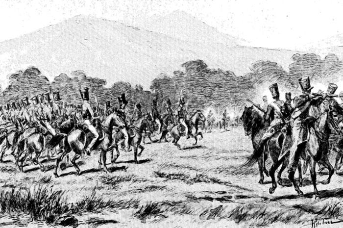 Mayor Jenderal Joseph van Geen di Dekso saat kecamuk Perang Jawa dalam sketsa imajiner karya G. Kepper pada 1900.