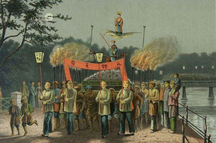 Litografi yang menggambarkan perayaan Cap Go Meh pada 1880-an yang menggambarkan keceriaan dua budaya di Batavia. Litografi berdasarkan lukisan oleh Josias Cornelis Rappard sekitar 1883-1889.